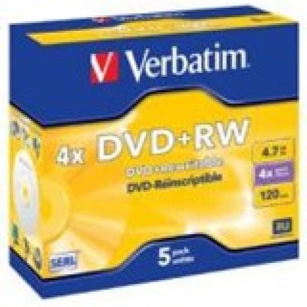 VERBATIM Dvd+rw 4.7gb 5pk Jewel Case 4x 95043