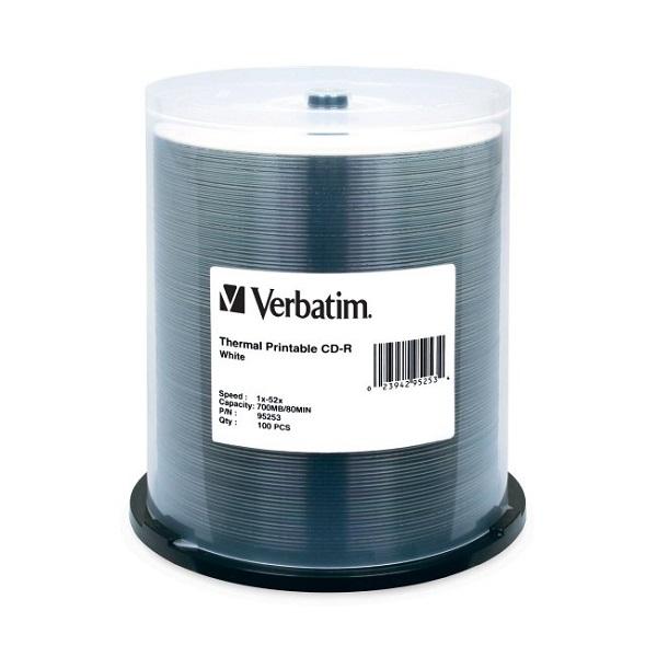 VERBATIM Cd-r 700mb 100pk White Thermal 52x 95253