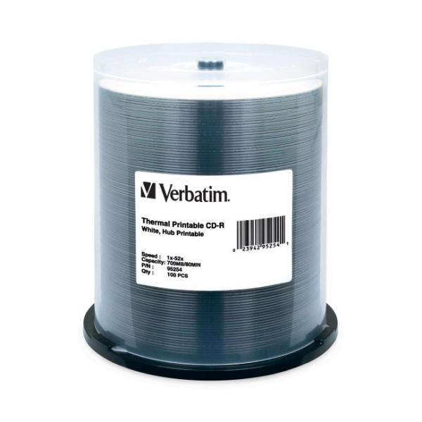 VERBATIM Cd-r 700mb 100pk White Wide Thermal 95254