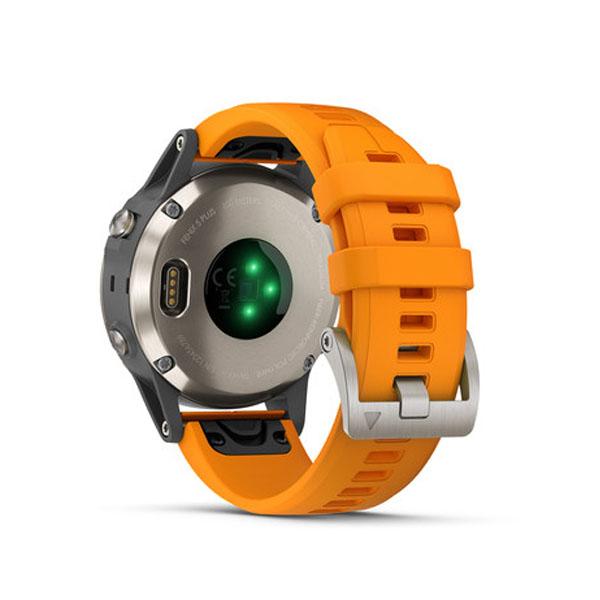 Garmin fenix 5 Plus Sapphire Titanium With Solar Flare Orange Band (010-01988-0A)