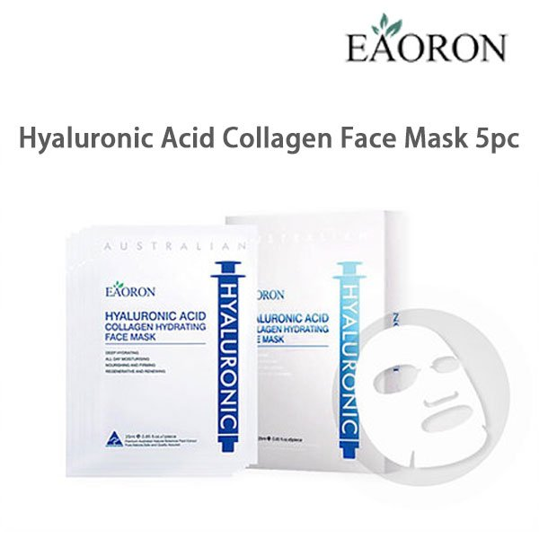 Eaoron Hyaluronic Acid Collagen Face Mask 5pc ( Beaeaomaskwh )