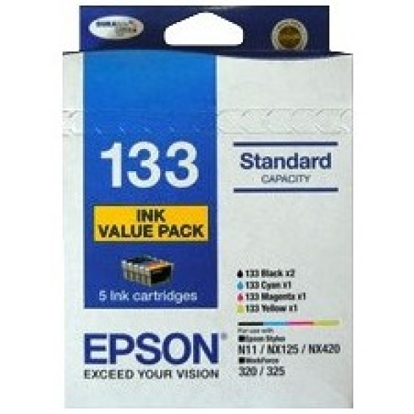 EPSON 5 Std Cap Ink Value Pack 2xblk 3xclrs C13T133694