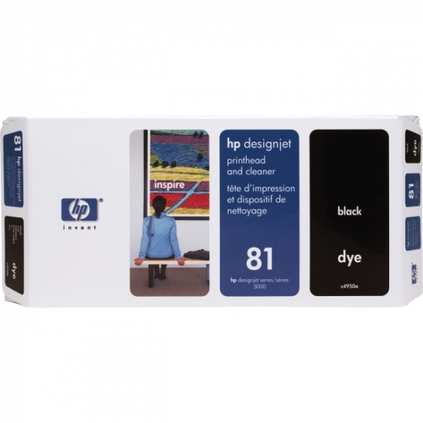 HP  81 Black Dye Printhead And Cleaner For C4950A