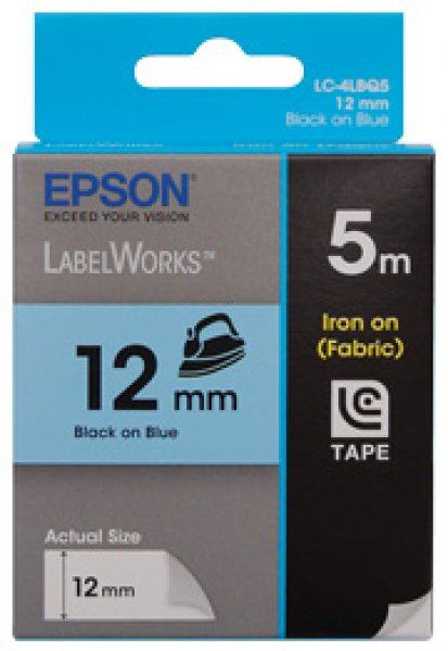 EPSON Tape Iron On 12mm Black On Blue 5 Metres C53S625108