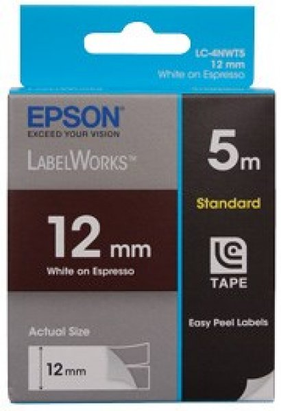 EPSON Tape Toffy 12mm White On Expreso 5 Metres C53S625109