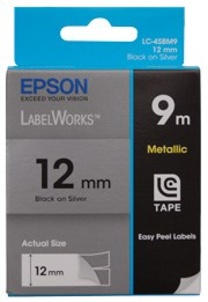 EPSON Tape Metallic 12mm Black On Silver 9 C53S625110