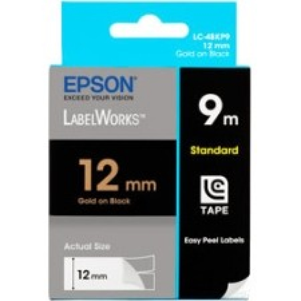 EPSON Tape Pastel Colour 12mm Gold On Blk 9 meters C53S625115