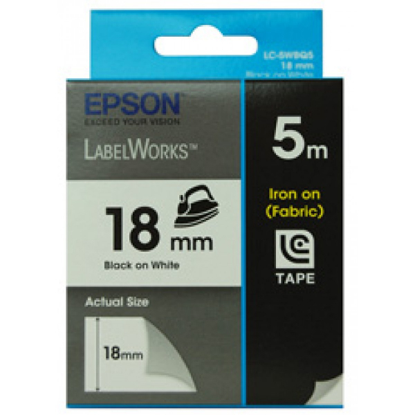 EPSON Tape Iron On 18mm Black White 5 Metres C53S626103