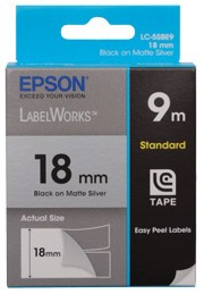 EPSON Tape Matte 18mm Black On Silver 9 Metres C53S626105