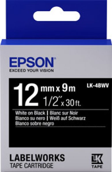 EPSON Tape Vivid 12mm White On Black 9 Metres C53S654107