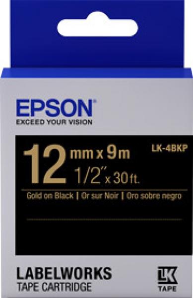 EPSON  Tape Pastel Colour 12mm Gold On Blk 9 C53S654115