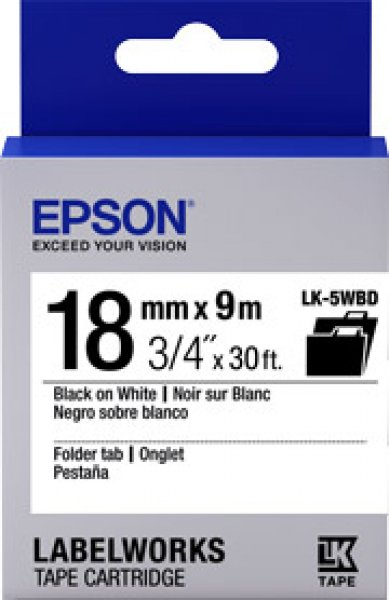 EPSON Tape Folder Tab 18mm Black On White 9 Mtrs C53S655107