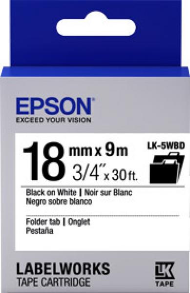 EPSON Tape Folder Tab 18mm Black On White 9 Mtrs C53S655107