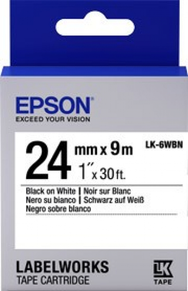 EPSON Tape Standard 24mm Blk On White 9 Metres C53S656101