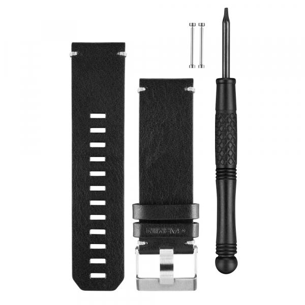 GARMIN Black Leather Watch Band (010-12168-29)