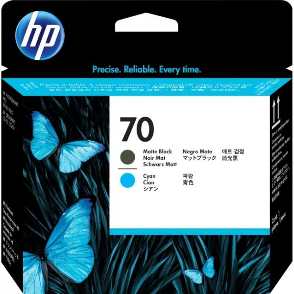 HP  70 Matte Black And Cyan Printhead For Dj C9404A