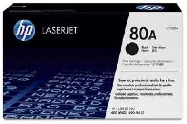 HP  80a Black Toner 2700 Page Yield For CF280A