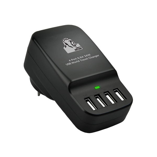 MBEAT Gorilla Power 34W 4 Port USB Travel Charger (CHGR-4U-BLK)
