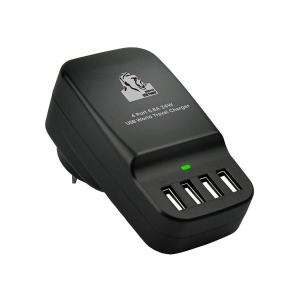 MBEAT Gorilla Power 34W 4 Port USB Travel Charger (CHGR-4U-BLK)