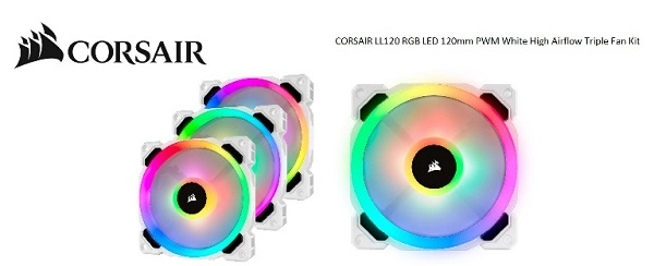 Corsair  Light Loop Series White Ll120 Rgb 120mm Pwm Fan 3 Fa ( Co-9050092-ww )