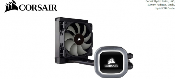 Corsair  H60 V2 120mm Liquid Cpu Cooler. Led Illuminated Pump ( Cw-9060036-ww )