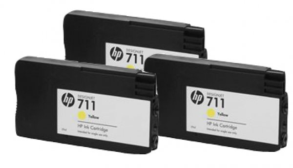 HP  711 Yellow Ink Cartridge 3-pack 29-ml For CZ136A