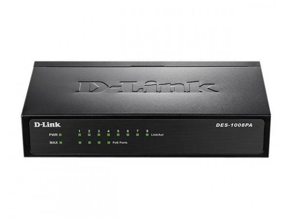 D-LINK 8-port 10/100 Desktop Switch With 4 Poe DES-1008PA