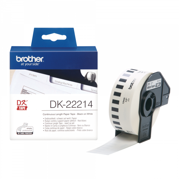 BROTHER White Continuous Paper Roll 12mm X DK-22214